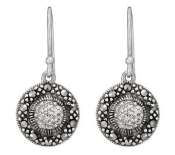 Suspicion Sterling Marcasite and Crystal RoundDrop Earrings - J112470