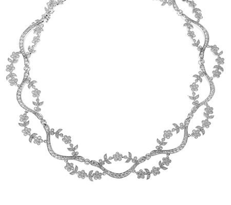 "Smithsonian Simulated Diamond 18"" Floral Necklace"