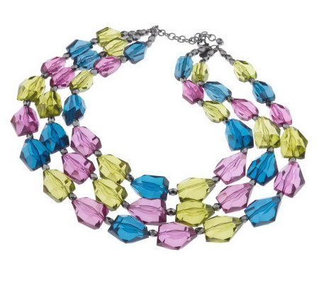 """As Is"" Joan Rivers Triple Strand 16-1/2"" Necklace/Ext"