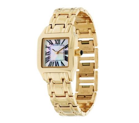 """As Is"" Bronzo Italia Mother- of-Pearl Cushion Dial Band Watch"
