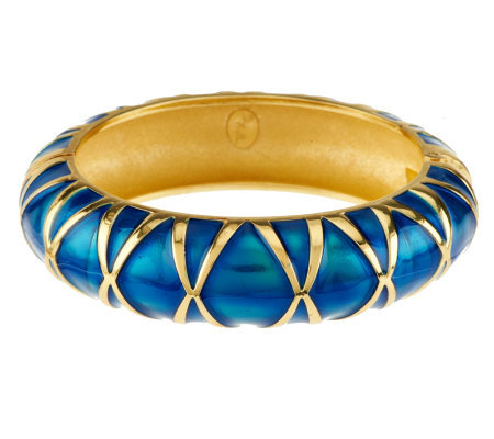 Kenneth Jay Lane's Enamel Criss-crossed Bangle Bracelet