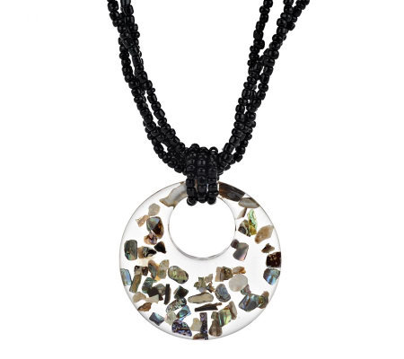 Lee Sands Glass Bead & Circle Pendant w/Abalone Necklace