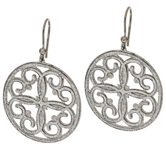 Vicenza Silver Sterling Pave' Glitter Scroll Design Round Dangle Earrings - J275670