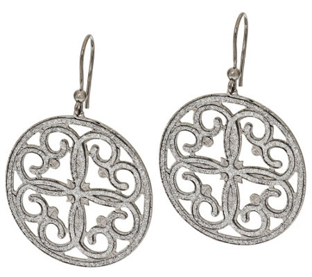 Italian Silver Sterling Pave' Glitter Scroll Design Round Dangle Earrings