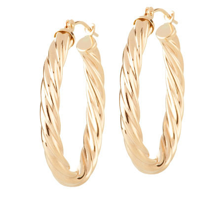 "EternaGold 1"" Polished Cable Twist Hoop 14K Gold Tube Earrings"