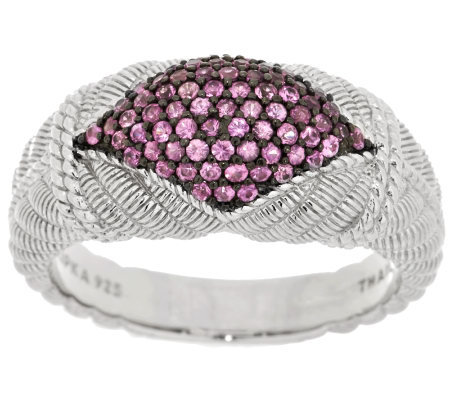 Judith Ripka Sterling and .55cttw Pink Sapphire Pave Band Ring