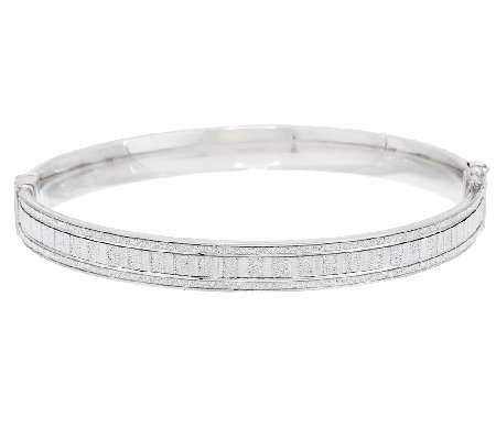 VicenzaSilver Sterling Small Baguette Style Pave' Glitter Hinged Bangle