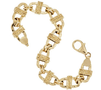 "Vicenza Gold 6-3/4"" Textured Oval Wrapped Status Bracelet 14K Gold, 6.5g - J292370"