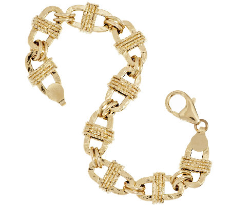 "Vicenza Gold 6-3/4"" Textured Oval Wrapped Status Bracelet 14K Gold, 6.5g"