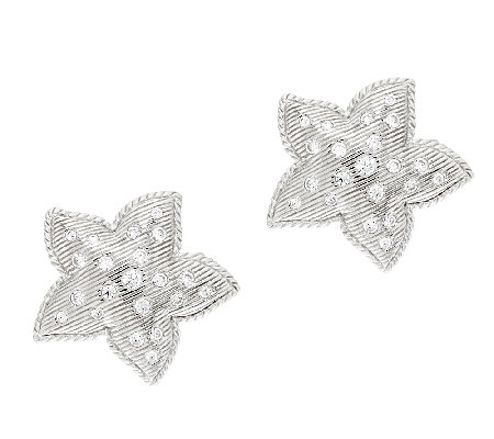 Judith Ripka Sterling & Diamonique Starfish Button Earrings