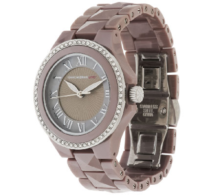 Isaac Mizrahi Live! Crystal Bezel Ceramic Watch