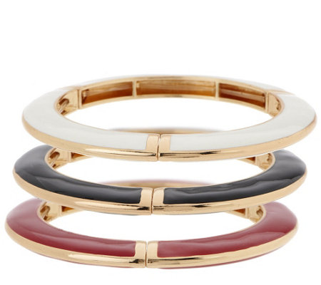 Set of 3 Color Enamel Stretch Bracelets