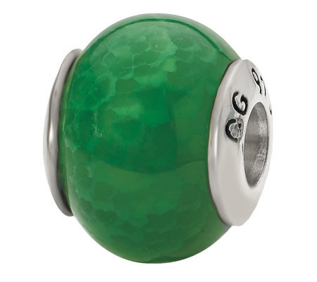Prerogatives Sterling Green Crackle Agate Gemstone Bead