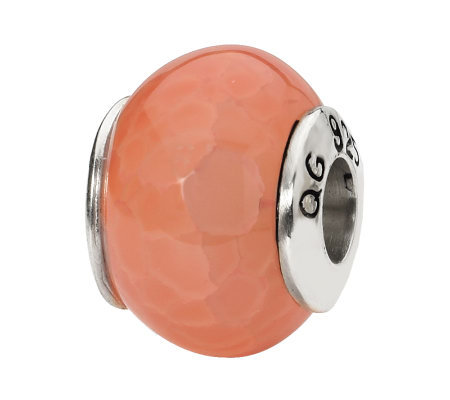 Prerogatives Sterling Orange Cracked Agate Gemstone Bead