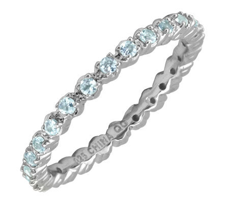 Simply Stacks Sterling Prong Set Aquamarine Stackable Ring