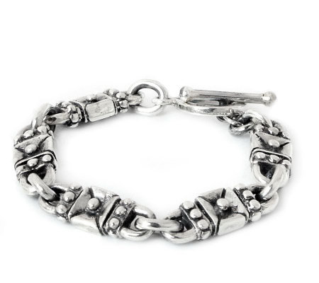 "Novica Artisan Crafted Sterling ""Lock and Key""Link Bracelet"