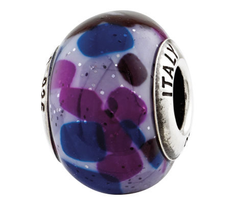 Prerogatives Sterling Purple/Blue Italian Murano Glass Bead