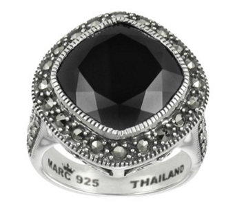 Suspicion Marcasite Cushion Cut Black Onyx RingSterling - J310770