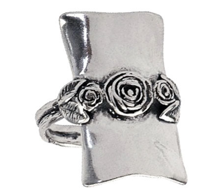 Or Paz Sterling Elongated Rectangular Rose Ring