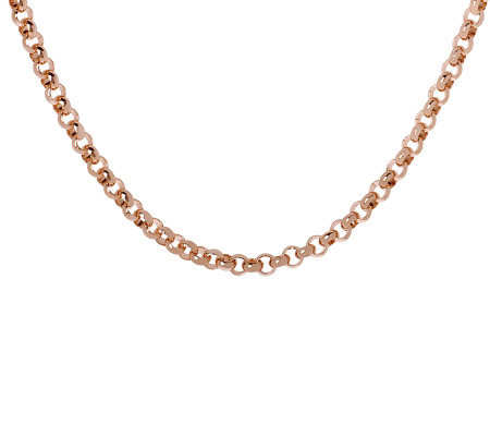"Bronzo Italia 36"" Polished Rolo Link Necklace"