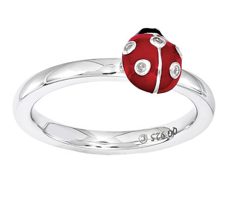 Simply Stacks Sterling Diamond Accent Ladybug Ring