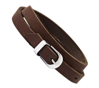 Stainless Steel Brown Leather Buckle Bracelet - J313270