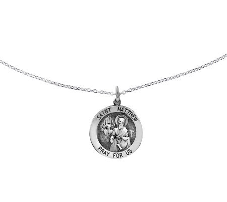 "Sterling Saint Matthew Round Solid Pendant w/ 18"" Chain"