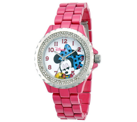 Disney Women's Pink Enamel Minnie Watch