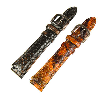 Judith Ripka S/2 Brown & Rust Snakeskin LeatherWatch Straps