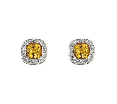 Sterling Silver Cushion-Cut Gemstone Stud Earrings