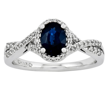 1.00 ct tw Oval Sapphire 1/6 ct tw Diamond Shank Ring, 14K