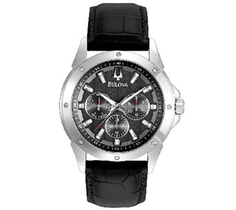 Bulova Men's Sport Black Leather Strap Watch - J316470