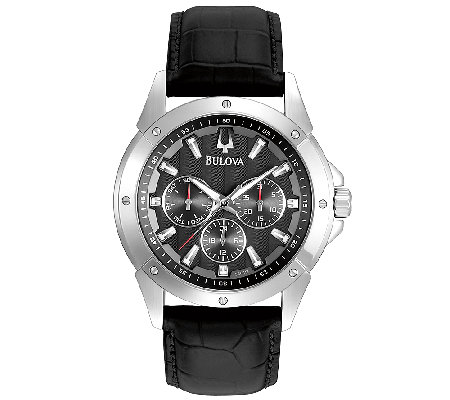 Bulova Men's Sport Black Leather Strap Watch