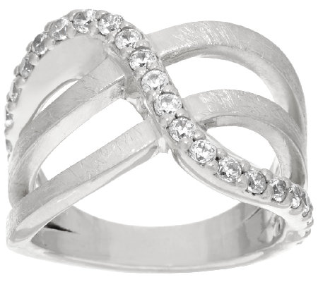 VicenzaSilver Sterling Crystal Design Satin Finish Ring