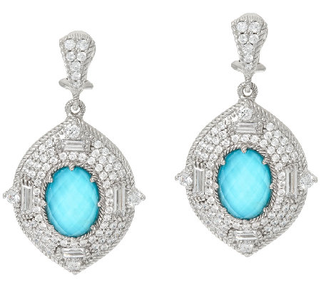 Judith Ripka Sterling 4.60 cttw Diamonique Earrings