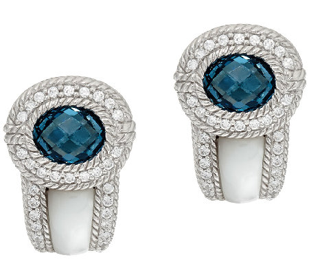 Judith Ripka Sterling 2.70ct tw London Blue Topaz & MOP Earrings