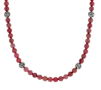 "Carolyn Pollack Sterling Silver 18"" Signature Bead & Gemstone Necklace - J322870"