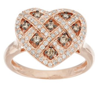 """As Is"" Argyle Diamond 1/2 ct tw Heart Ring, Sterling - J323770"