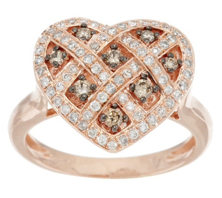 """As Is"" Argyle Diamond 1/2 ct tw Heart Ring, Sterling"