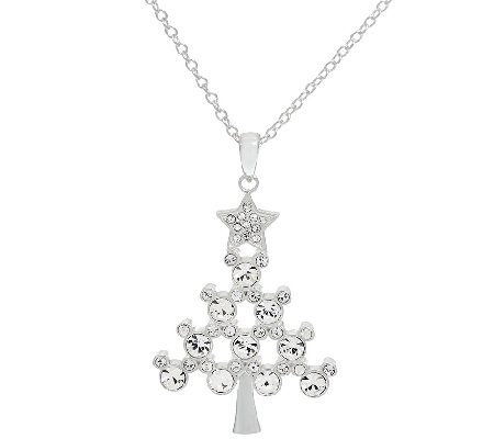 "Disney Crystal Hidden Mickey Christmas Tree Pendant with 18"" Chain"