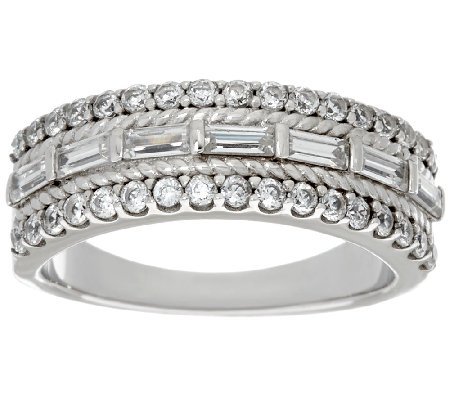 Diamonique Triple Row Band Ring, Platinum Clad