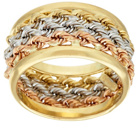 """As Is"" 14K Gold Bold Triple Wrapped Rope Band Ring"