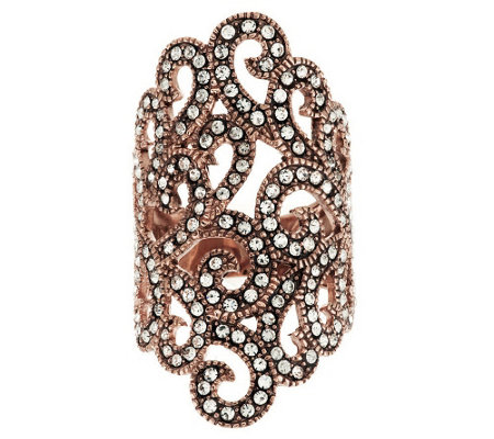 """As Is"" Sterling Crystal Elongated Lace Design Ring"