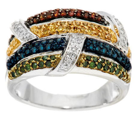 """As Is"" Multi- Color Diamond Ring, Sterling 1/2 cttw by Affinity"