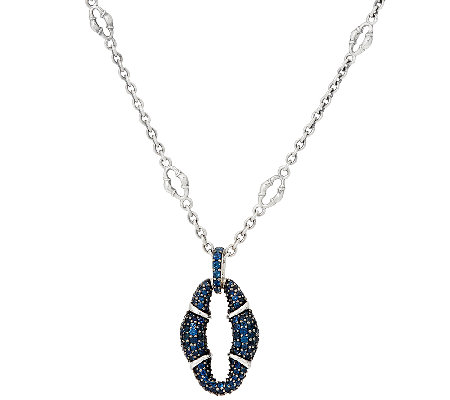 Scott Kay Sterling Silver Blue Sapphire Pave' Bolo Necklace