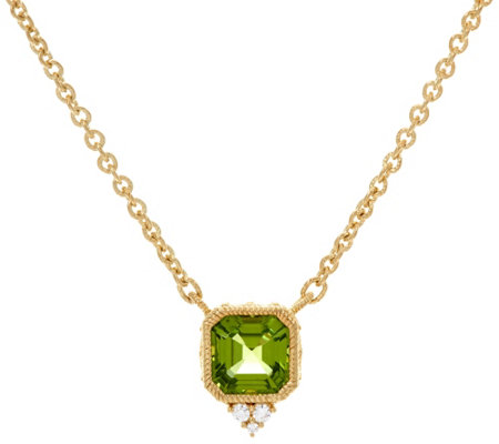 Judith Ripka Sterling or 14K Clad Asscher Cut Gemstone Necklace