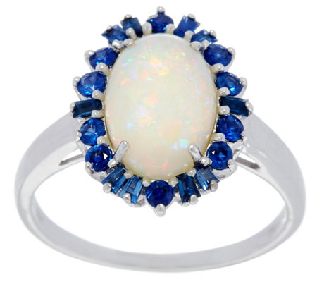 Australian Opal and Precious Gemstone Ring 14K Gold 0.45 cttw