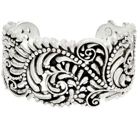 Sterling Silver Beaded Scroll Design Cuff by Or Paz