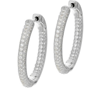 "Diamonique 1"" Pave' Hoop Earrings, Sterling or 18K Plated - J329870"