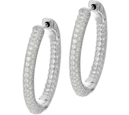 "Diamonique 1"" Pave' Hoop Earrings, Sterling or 18K Plated"
